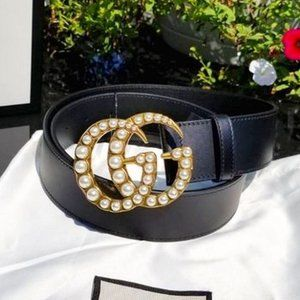 Gucci Leather belt with pearl Double G Z90 NWT